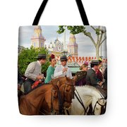 Group Of Couples On Horseback Drinking And Partying At The Sevil Tote Bag