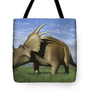Group Of Dinosaurs Grazing In A Grassy Tote Bag