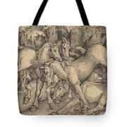 Group Of Seven Horses In Woods Tote Bag