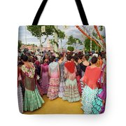 Group Of Young Female Students Dressed In Flamenco Dresses At Th Tote Bag