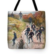 Group Riding Penny Farthing Bicycles Tote Bag