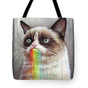 Grumpy Cat Tastes The Rainbow Tote Bag