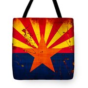 Grunge And Splatter Arizona Flag Tote Bag