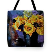 Grunge Friendship Rose Bouquet With Candle By Lisa Kaiser Tote Bag