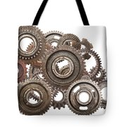 Grunge Gear Cog Wheels Mechanism Isolated On White Tote Bag