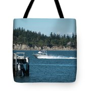 Guemes Island And Fishing Boat Tote Bag