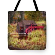 Guildhall Grist Mill In Fall Tote Bag