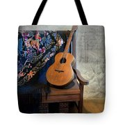 Guitar On A Bench Tote Bag