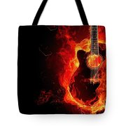 Guitar On Fire Tote Bag