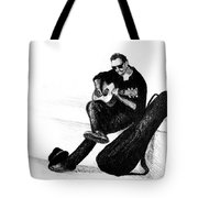 Guitarist Playing On The Street. Drawing Illustration Tote Bag