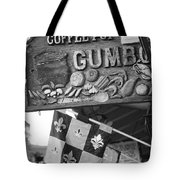 Gumbo Sign - Black And White Tote Bag