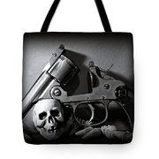 Gun And Skull Tote Bag