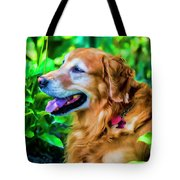 Gus In Flower Bed 10357t2a Tote Bag