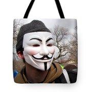 Guy Fawkes Mask At Political Demonstration Tote Bag