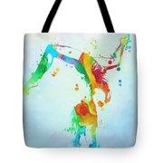 Gymnast Watercolor Paint Splatter Tote Bag