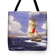 H. M. S. Bounty At Tahiti Tote Bag