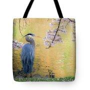 Haiku, Heron And Cherry Blossoms Tote Bag