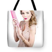 Hair Style Model. Pinup Girl With Large Pink Comb Tote Bag