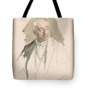 Half Length Study Of An Elderly Man In Evening Dress Tote Bag