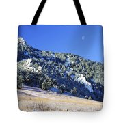 Half Moon Over The Flatirons Tote Bag