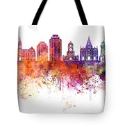Halifax V2 Skyline In Watercolor Background Tote Bag
