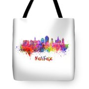 Halifax V2 Skyline In Watercolor Splatters With Clipping Path Tote Bag