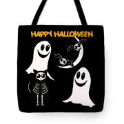 Halloween Bats Ghosts And Cat Tote Bag