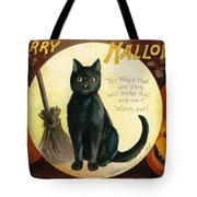 Halloween Greetings With Black Cat And Carved Pumpkins Tote Bag