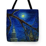 Halloween Night Over New York City Tote Bag by Anna Folkartanna Maciejewska-Dyba