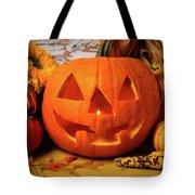 Halloween Pumpkin Smiling Tote Bag