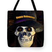 Halloween Skull With Hat Tote Bag