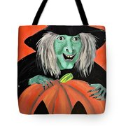 Halloween Witch And Pumpkin Art Tote Bag