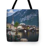 Hallstatt Lakeside Village In Austria Tote Bag by Andy Konieczny