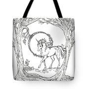 Haloed Unicorn In The Woods Tote Bag