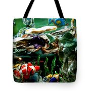 Hammerhead Shark Swimming Through New Abstract Coral Tote Bag