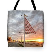 Hampton Beach Sunrise Hampton Beach State Park Hampton Nh Flag Tote Bag