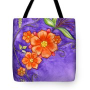 Hand Drawn Pencil And Watercolour Flowers In Orange And Purple Tote Bag