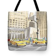 Hand Drawn Sketch Of A Busy New York City Street Tote Bag