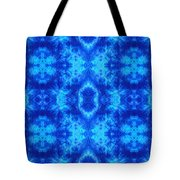 Hand-dyed Blue And Turquoise Fabric With Zig Zag Stitch Details  Tote Bag