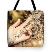 Hand Of A Woman Catching Water Stream Tote Bag