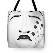 Hand On Face Mask Black White Tote Bag