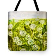 Hand Painted Picture, Meadow With White Dandelines Tote Bag