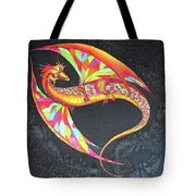 Hand Painted Silk Scarf Dragon On Black Tote Bag