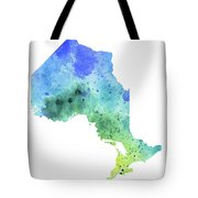 Hand Painted Watercolor Map Of Ontario, Canada In Blue And Green  Tote Bag