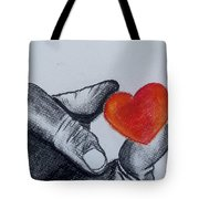 Hand With Heart Tote Bag