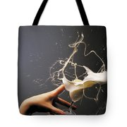 Hand With The Flying Glass Of Liqueur Tote Bag
