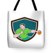 Handball Player Throwing Ball Crest Cartoon Tote Bag