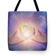 Hands With A Glowing Earth Tote Bag