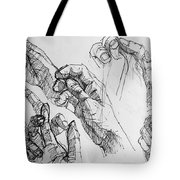 Hands With Line Pen Tote Bag