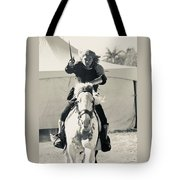 Handsome Knight Riding His Horse Tote Bag